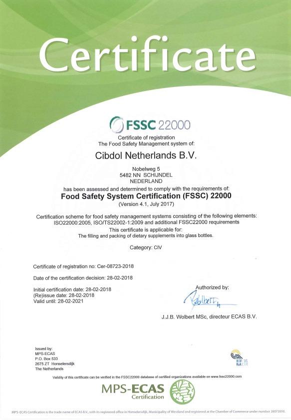 Сертификат Cibdol